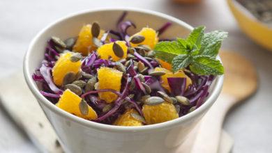 Photo of Recette : Salade de chou rouge à l'orange et aux graines
