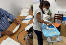 Photo of Les employés de SALT of Palmar confectionnent des masques de protection